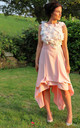 Romance Wendy Sleeveless Asymmetric Dress in Peach Floral by Blonde And Wise
