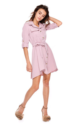 Dark Pink Mini Shirt Dress With Pockets by By Ooh La La Product photo