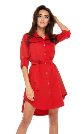 Red Mini Shirt Dress With Pockets by By Ooh La La Product photo