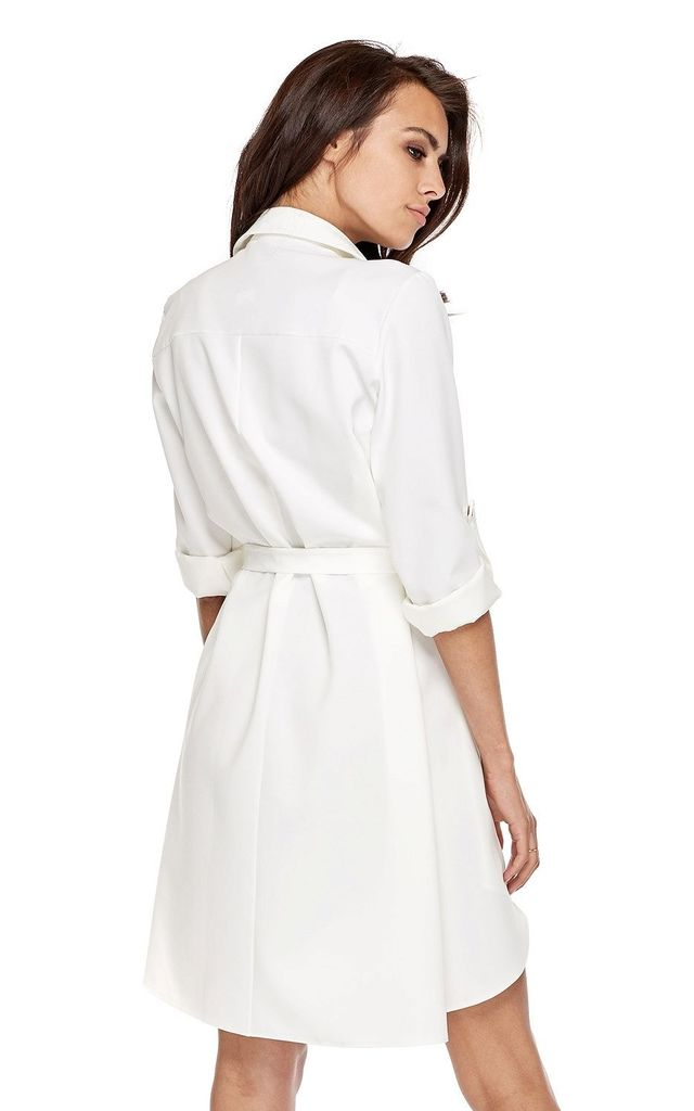 White Mini Shirt Dress with Pockets by By Ooh La La