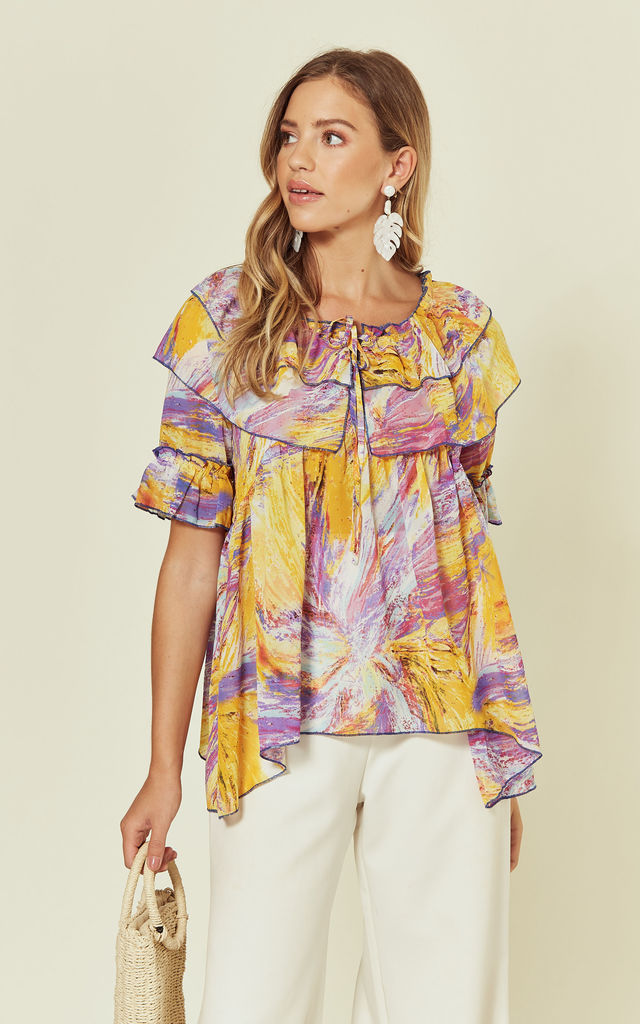 Oversized Blouse with Ruffles in Abstract Print by Stardust + Steel