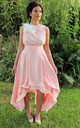 Devotion Wendy Sleeveless Asymmetric Dress in Peach Floral by Blonde And Wise