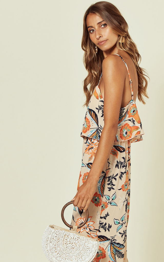 Frill Front Culotte Jumpsuit in Cream Floral Print by Stardust + Steel