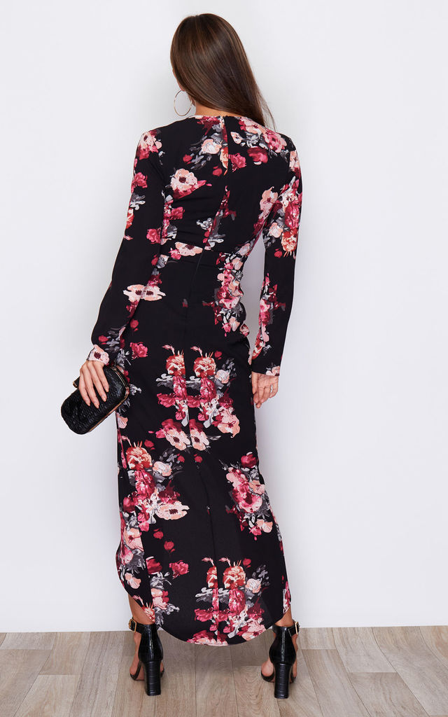 Indie Wrap Flute Sleeve Maxi Dress Black Pink Flower Print by Girl In Mind