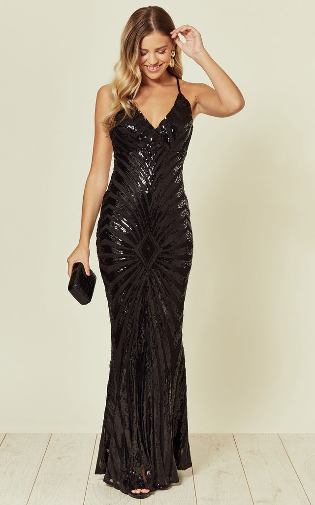 TIMELESS BLACK SEQUIN MAXI DRESS WITH PLUNGE NECK by Nazz Collection