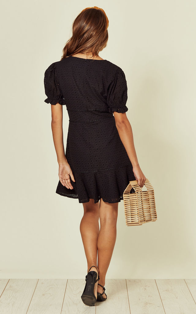 Black Broderie dress with button down detail by Another Look