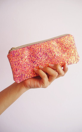 Glitter Sunglasses Case In Pink & Rose Gold by Suki Sabur Designs Product photo