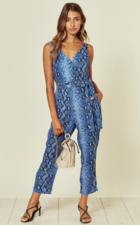 Bella V Neck Wrap Straight Leg Jumpsuit Cobalt Snake by Girl In Mind Product photo