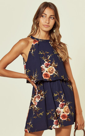 Ruby Double Layer Floral Playsuit Navy by Girl In Mind Product photo