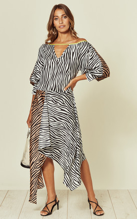 Mix Zebra Print Asymmetric Hem Midi Dress With Batwing Sleeves by Liquorish Product photo