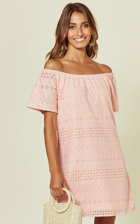 Pink Bardot Embroidered Dress by Oeuvre Product photo