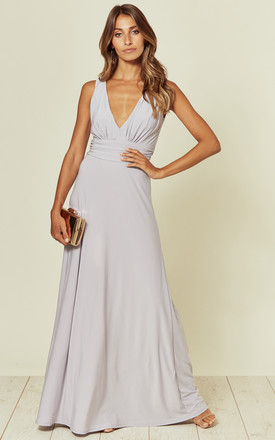 Lana Dove Grey Maxi Bridesmaid Dress by Revie London Product photo