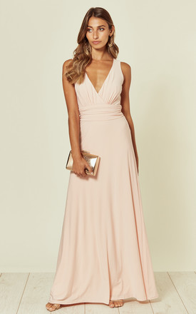 Lana Whipped Peach Maxi Bridesmaid Dress by Revie London Product photo