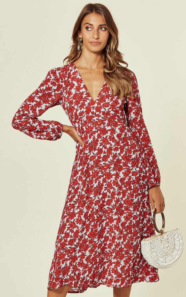 Mama Mia Ditzy Floral Dress in Blue & Red by Traffic People
