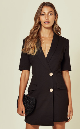 Short Sleeve Asymmetric Blazer Dress In Black by UNIQUE21 Product photo
