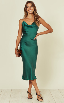 Cowl Neck Satin Slip Cami Midi Dress Green by URBAN TOUCH Product photo