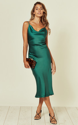 Cowl Neck Satin Slip Cami Midi Dress Green by URBAN TOUCH