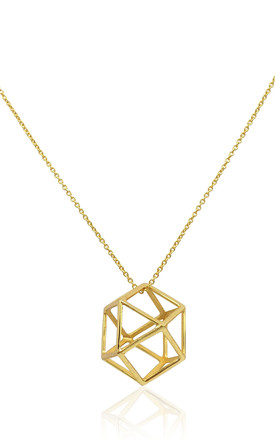 Gold Vermeil Necklace With Geometric Icon Pendant by Eliza Bautista Product photo