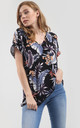 Oversized Roll Sleeve T-Shirt in Blue Tropical Print by Oops Fashion