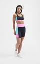 The Valentina Cycle Shorts in Multi Colour Block by Belles of London