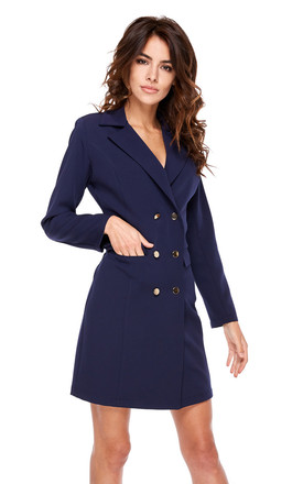 Navy Blue Mini Blazer Dress With Long Sleeves by By Ooh La La Product photo