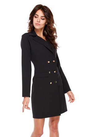 Black Mini Blazer Dress With Long Sleeves by By Ooh La La Product photo