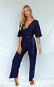 BRANDY NAVY JERSEY WRAP ANGEL SLEEVE JUMPSUIT by Style Cheat