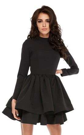 Long Sleeve Mini Dress With Ruffles In Black by By Ooh La La Product photo