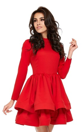 Red Long Sleeve Mini Dress With Ruffle by By Ooh La La Product photo