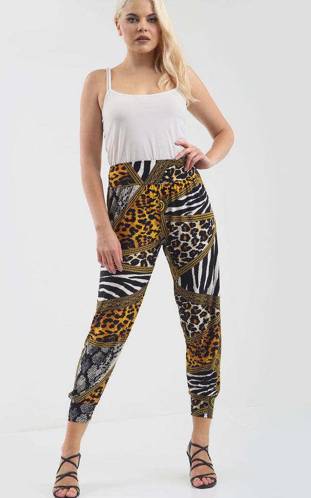 High Waisted Harem Trousers in Animal Print by Oops Fashion