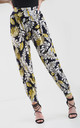 Navy High Waisted Harem Trousers in Yellow Floral Print by Oops Fashion