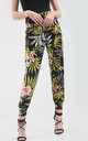 High Waisted Harem Trousers in Green Tropical Print by Oops Fashion