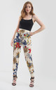 High Waisted Harem Trousers in Cream Floral Print by Oops Fashion