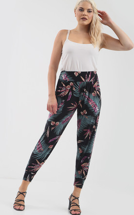 High Waisted Harem Trousers in Purple Tropical Print by Oops Fashion
