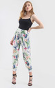 Cream High Waisted Harem Trousers in Floral Print by Oops Fashion