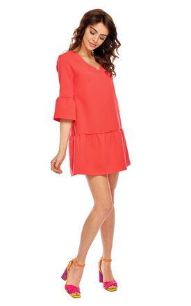 Coral 3/4 Sleeve Mini Dress by By Ooh La La Product photo
