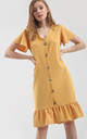 Button Up Frill Sleeve Dress in Mustard by Oops Fashion