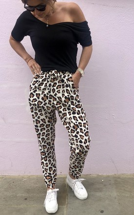 High Waisted Trousers in Beige Cheetah -HARPER by Libby Loves