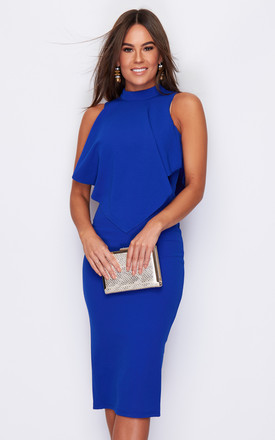 Zara High Neck Frill Top Midi Dress Cobalt by Girl In Mind Product photo