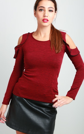 Fine Knit Cold Shoulder Frill Top in Wine by Oops Fashion