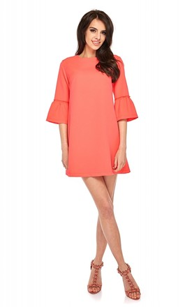 Coral A Line Mini Dress With 3/4 Sleeves by By Ooh La La Product photo