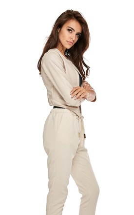 Cropped Jacket with 3/4 Sleeves in Beige by By Ooh La La