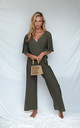 BRANDY JERSEY WRAP ANGEL SLEEVE JUMPSUIT IN KHAKI by Style Cheat