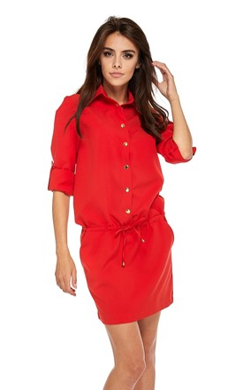 Button Up Mini Dress In Red by By Ooh La La Product photo