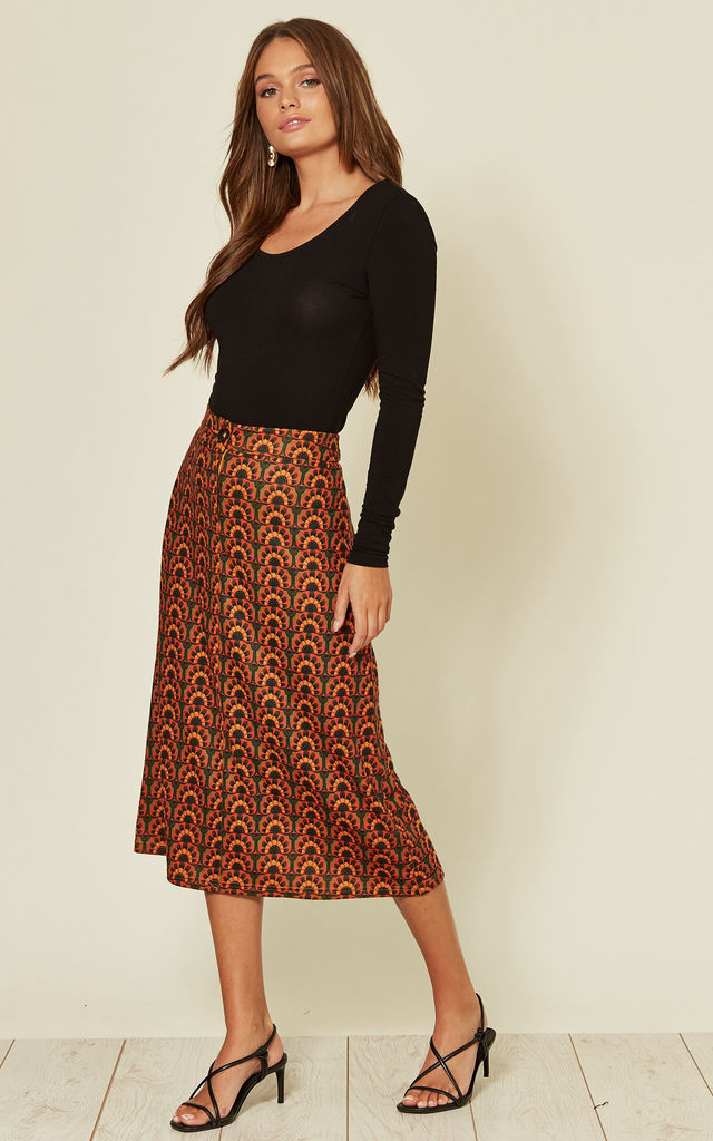 Sonny and Cher Ali A-Line Midi Skirt in Orange and Green by Traffic People