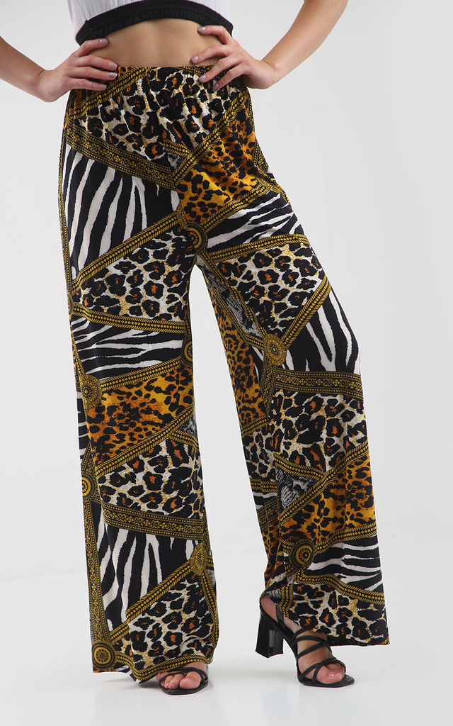 High Waisted Wide Leg Trousers in Animal Print by Oops Fashion