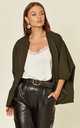 CHARLEEN OVERSIZED JACKET IN KHAKI by Jovonna London