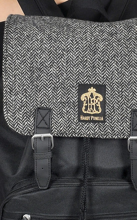 Black Backpack with Wool Herringbone Panel by The Left Bank