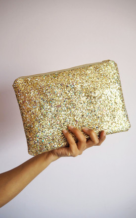 Glitter Clutch Bag In Gold Rainbow Mix by Suki Sabur Designs Product photo