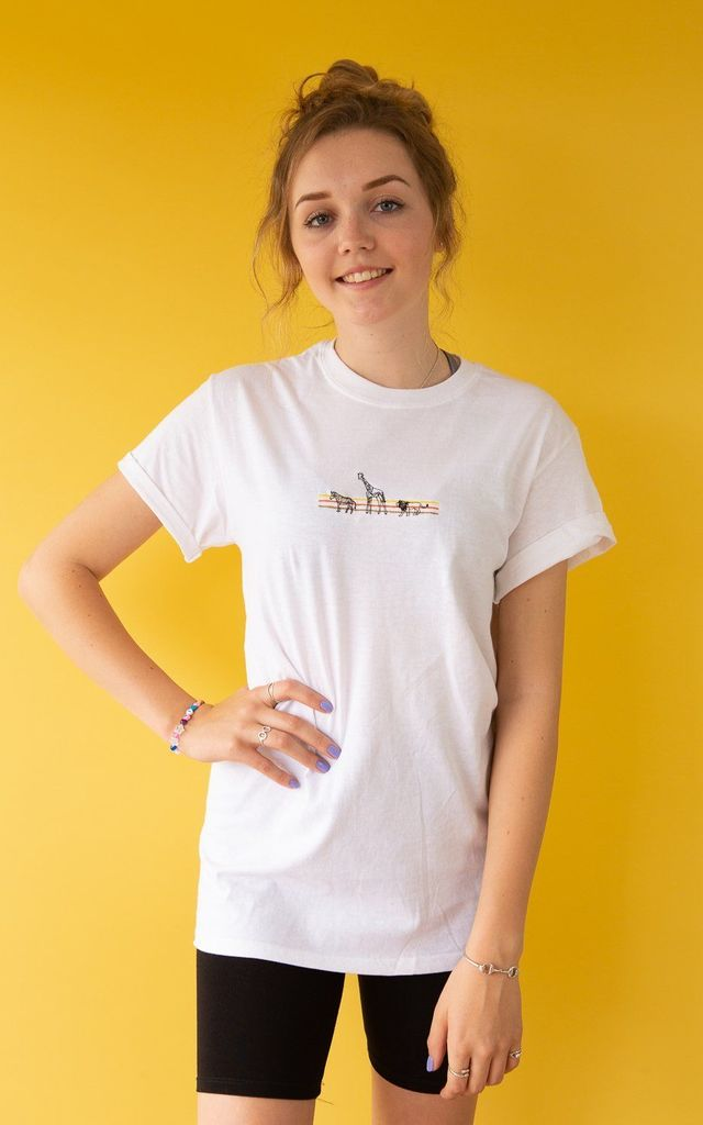 Embroidered colour block animal organic  t-shirt in white by Emma Warren